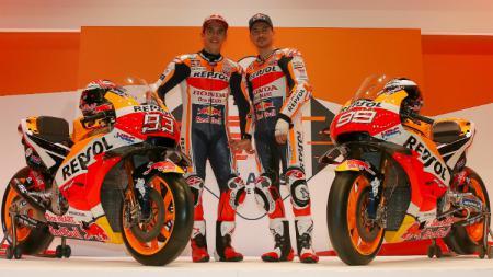Repsol Honda Team dengan dua pembalapnya, Marc Marquez dan Jorge Lorenzo untuk MotoGP 2019. - INDOSPORT