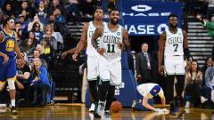Indosport - Selebrasi para pemain Boston Celtics.