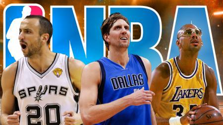 3 Pemain basket NBA dengan gaya khas yang melegenda: Manu Ginobili, Dirk Nowitzki, dan Kareem Abdul-Jabbar. - INDOSPORT