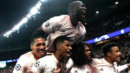 Selebrasi pemain Manchester United. - INDOSPORT