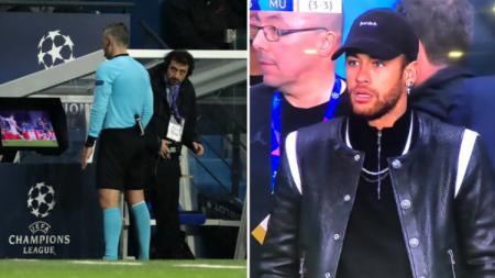 Kekecewaan Neymar setelah Paris Saint-Germain takluk dari Manchester United di 16 besar Liga Champions 2018/19. - INDOSPORT