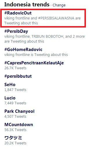Hastag #RadovicOut menjadi trending topic di twitter Copyright: Twitter