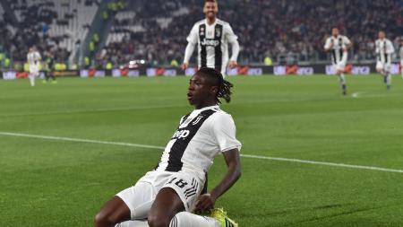 Moise Kean merayakan gol yang ia cetak ke gawang Udinese. - INDOSPORT