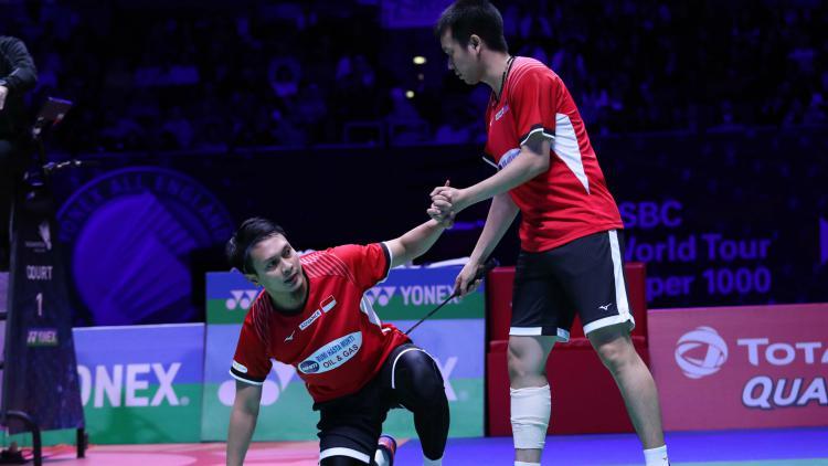 Pasngan ganda putra Hendra Setiawan/Mohammad Ahsan di semifinal All England 2019, Sabtu (09/03/19). Copyright: badmintonindonesia.org