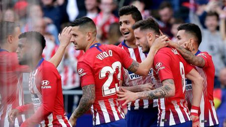Selebrasi pemain Atletico Madrid usai gol Saul ke gawang Leganes, Sabtu (09/03/19). - INDOSPORT