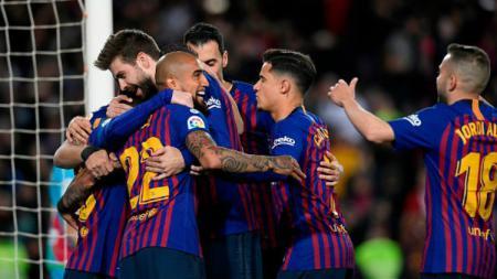 Selebrasi pemain Barcelona di laga kontra Rayo Vallecano, Minggu (10/03/19). - INDOSPORT