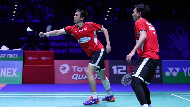 Aksi Mohammad Ahsan/Hendra Setiawan  di semifinal All England 2019, Sabtu (09/03/19). Copyright: badmintonindonesia.org