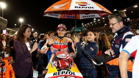 Marc Marquez sebelum balapan di MotoGP 2019 Qatar.
