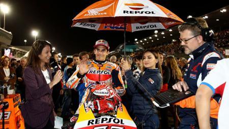 Marc Marquez sebelum balapan di MotoGP 2019 Qatar. - INDOSPORT