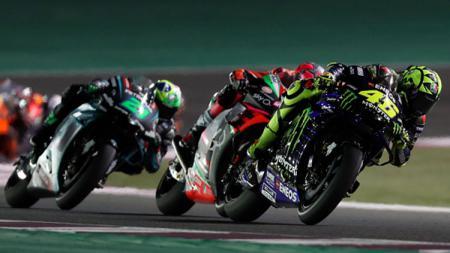 Aksi Valentino Rossi di MotoGP 2019 Qatar. - INDOSPORT