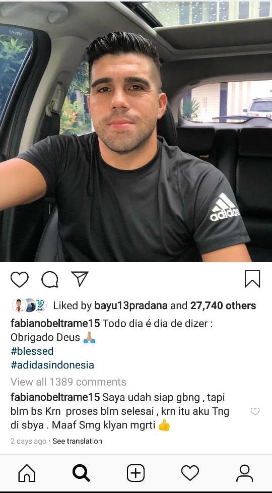 Fabiano Beltrame mengklarifikasi soal rumor yang menyebutkannya bakal bergabung ke Persib Bandung. Copyright: Instagram.com/fabianobeltrame