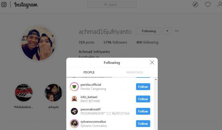 Akun Instagram Achmad Jufriyanto mengikuti akun resmi Persita Tangerang. Copyright: instagram.com/achmad16jufriyanto
