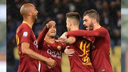 Selebrasi para pemain AS Roma. - INDOSPORT