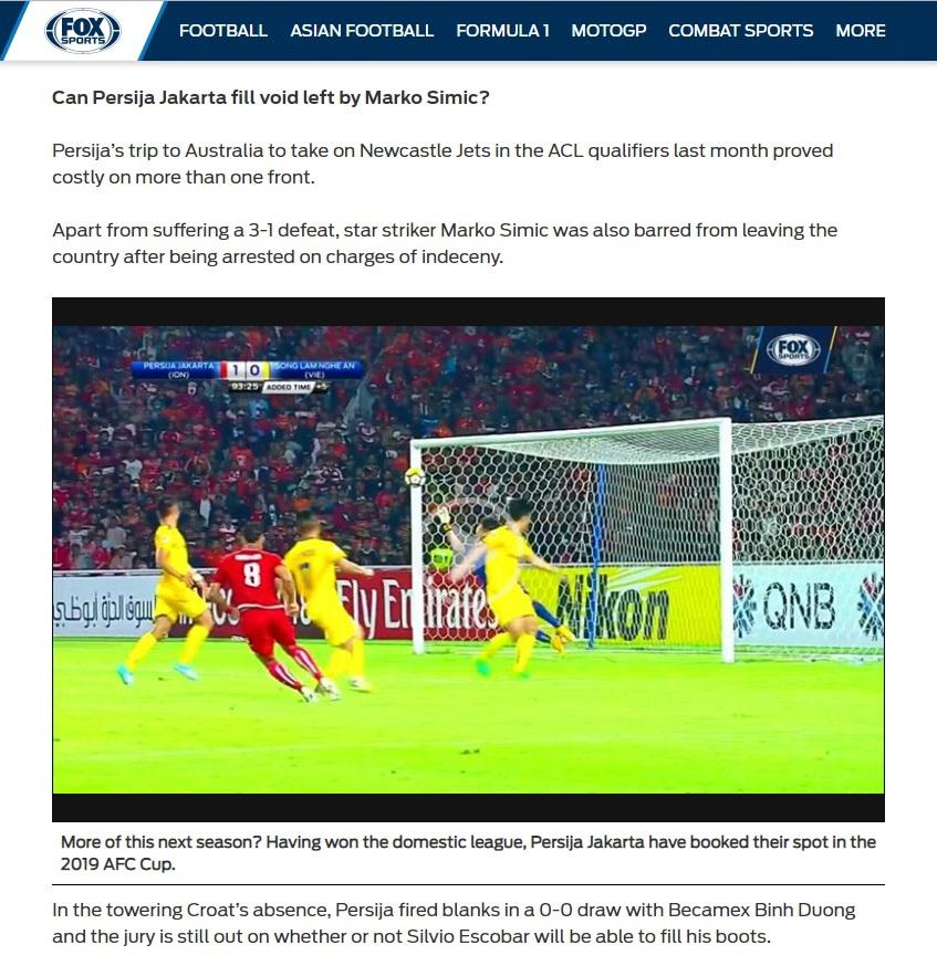 Fox Sports Asia pertanyakan kualitas striker Persija Jakarta, Silvio Escobar Copyright: Fox Sports Asia
