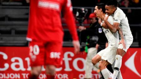 Selebrasi para pemain Paris Saint-Germain usai bantai Dijon - INDOSPORT