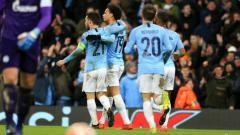 Indosport - Selebrasi pemain Manchester City usai mencetak gol