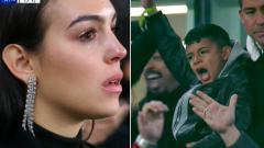 Indosport - Kekasih Ronaldo menitikkan air mata penuh haru saat Ronaldo mencetak hattrick