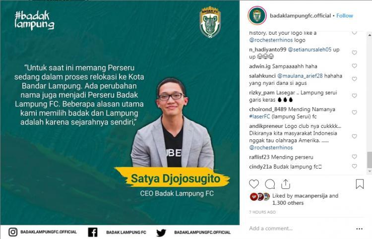 Instagram Klub Badak Lampung FC diserang netizen. Copyright: Instagram.com/badaklampungfc.official