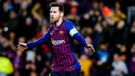 Selebrasi Lionel Messi usai mencetak gol buat Barcelona. - INDOSPORT