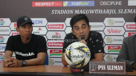 Pelatih PSS Sleman, Seto Nurdiyantoro saat konfrensi pers. - INDOSPORT