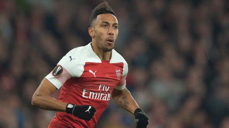 Selebrasi Aubameyang di laga Arsenal vs Rennes Copyright: INDOSPORT