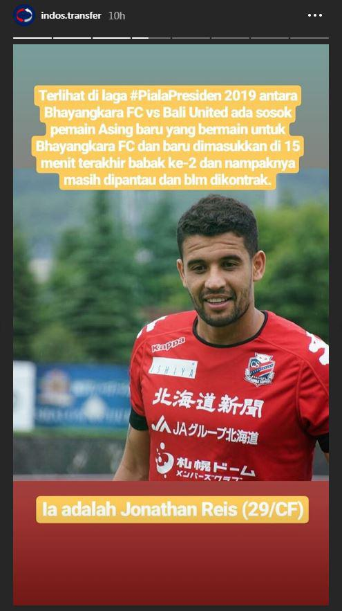 Jonatan Reis, pemain baru Bhayangkara FC. Copyright: Instagram.com/indotransfer