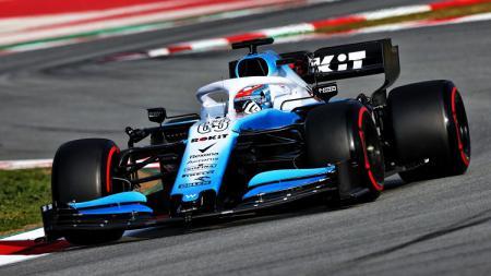 Mobil tim Williams Racing saat melaju di lintasan F1. - INDOSPORT