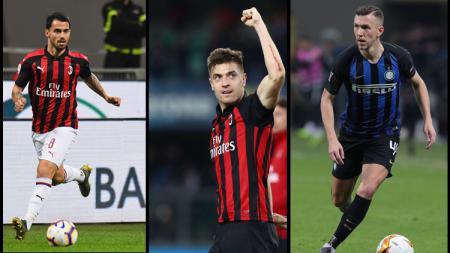 Pemain AC Milan Suso,Krzysztof Piatek, Dan Inter Milan Ivan Perisic. - INDOSPORT