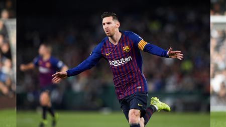 Selebrasi Lionel Messi saat mencetak gol untuk Barcelona di LaLiga Spanyol. Getty Images. - INDOSPORT