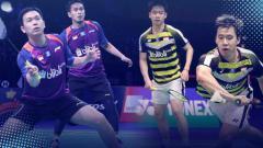 Indosport - Mohammad Ahsan/Hendra Setiawan vs Kevin Sanjaya Sukamuljo/Marcus Fernaldi Gideon merupakan ganda putra Indonesia yang akan bertanding di final Indonesia Open 2019.