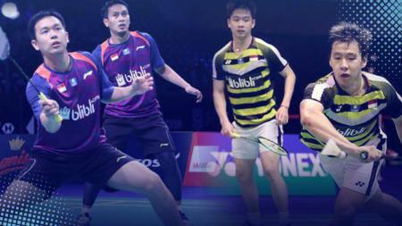 Mohammad Ahsan/Hendra Setiawan dan Kevin Sanjaya Sukamuljo/Marcus Fernaldi Gideon akan sama-sama berjuang di Singapore Open 2019. - INDOSPORT
