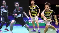 Indosport - Mohammad Ahsan/Hendra Setiawan vs Kevin Sanjaya Sukamuljo/Marcus Fernaldi Gideon.