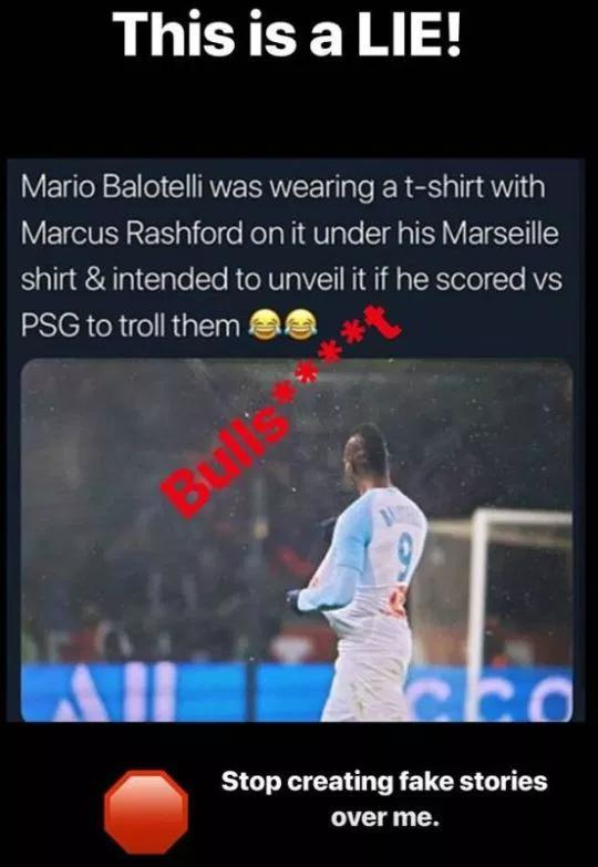 Bantahan Mario Balotelli lewat Instagram Story Copyright: Instagram/Mb459