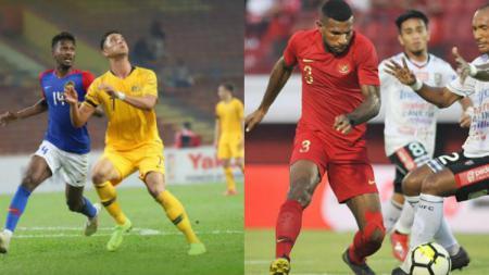 Pemain Timnas Malaysia dan Indonesia saat uji coba - INDOSPORT