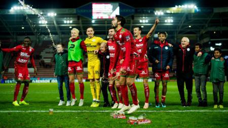 Sandy Walsh saat melakukan selebrasi usai mencetak gol untuk klubnya di Liga Belgia. - INDOSPORT