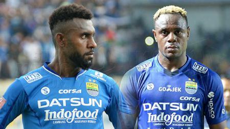 Rudolof Yanto Basna (kiri) dan Victor Igbonefo (kanan) saat masih berseragam Persib Bandung beberapa tahun lalu. - INDOSPORT