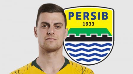 Tomi Juric dan logo Persib Bandung - INDOSPORT