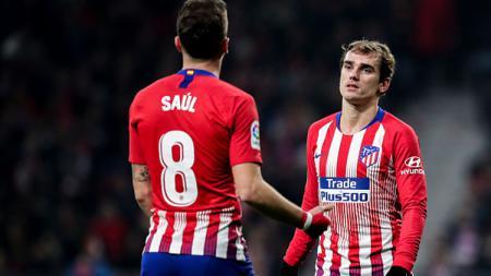 Saul Niguez dan Antoine Griezmann, 2 pemain bintang Atletico Madrid. - INDOSPORT