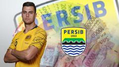 Indosport - Tomi Juric dan logo Persib Bandung
