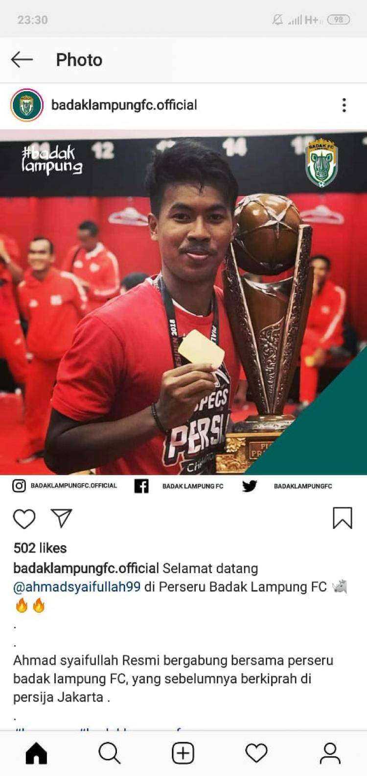 Perseru Badak Lampung borong pemain bintang. Copyright: instagram badaklampungfc.official