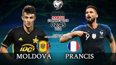 Indosport - Prediksi pertandingan Moldova vs Prancis.