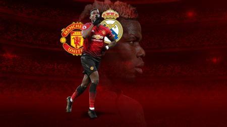 Gelandang Manchester United, Paul Pogba, mantapkan hatinya untuk bermain bersama Real Madrid. - INDOSPORT