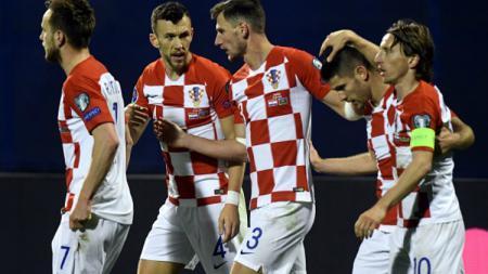 Pemain Kroasia Lakukan Selebrasi Usai mencetak gol - INDOSPORT