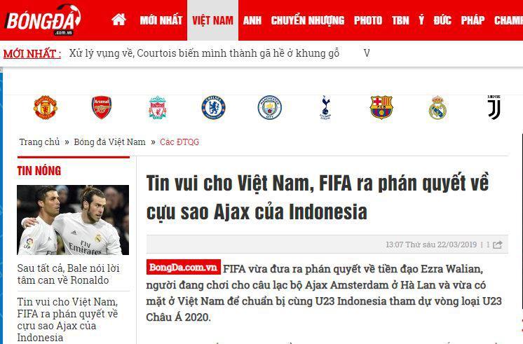 Artikel media Vietnam sola Ezra Walian. Copyright: Bongda.com.vn.