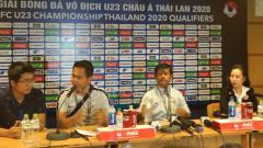 Indosport - Timnas Indonesia dalam jumpa pers usai laga.