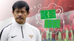 Indosport - Indra Sjafri tampak bingung memilih formasi yang akan digunakan melawan Vietnam