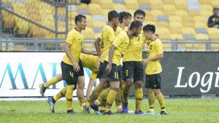 Skuat Malaysia Merayakan Gol di Ajang Marine Cup 2019 - INDOSPORT