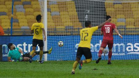 Pemain Malaysia Berselebrasi Usai Mencetak gol di Ajang Airmarine Cup 2019 - INDOSPORT