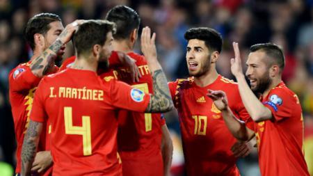 Selebrasi para pemain Spanyol. - INDOSPORT