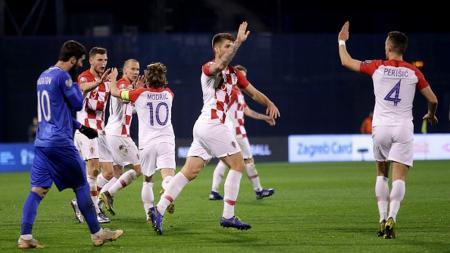 Pemain Kroasia Melakukan seleberasi usai mencetak gol - INDOSPORT